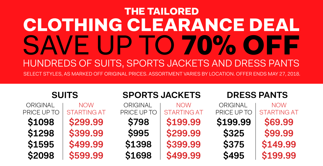 The Tailored Clothing Clearance Deal - save up to 70% off hundreds of suits, sports jackets and dress pants